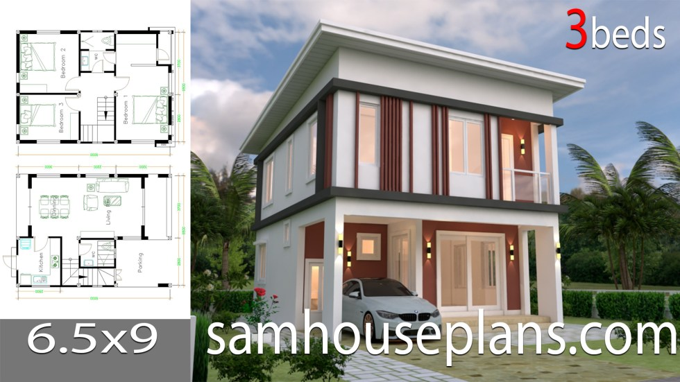 House Plans 6 6x9 With 3 Bedrooms Flat Roof Samhouseplans