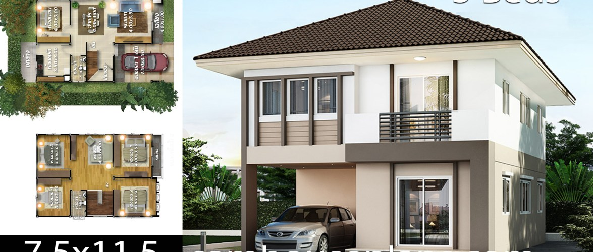 House plans idea 7.5×11.5 with 5 bedrooms