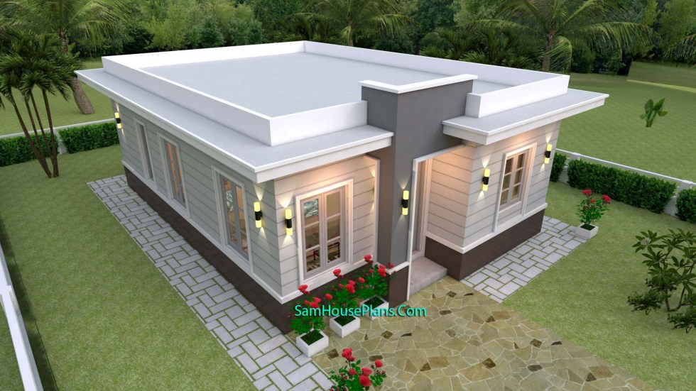 House Plans 7x10 with 3 Bedrooms with terrace roof front terrace 3d
