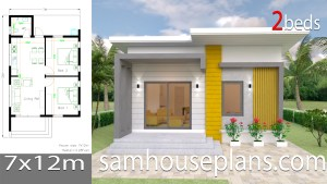 House Design Plans 7x12 with 2 Bedrooms Full Plans