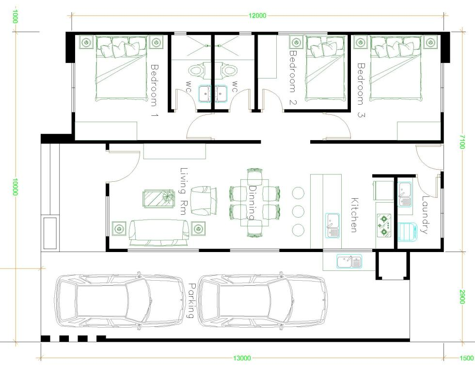 House Design Plans 10x13 With 3 Bedrooms Samhouseplans