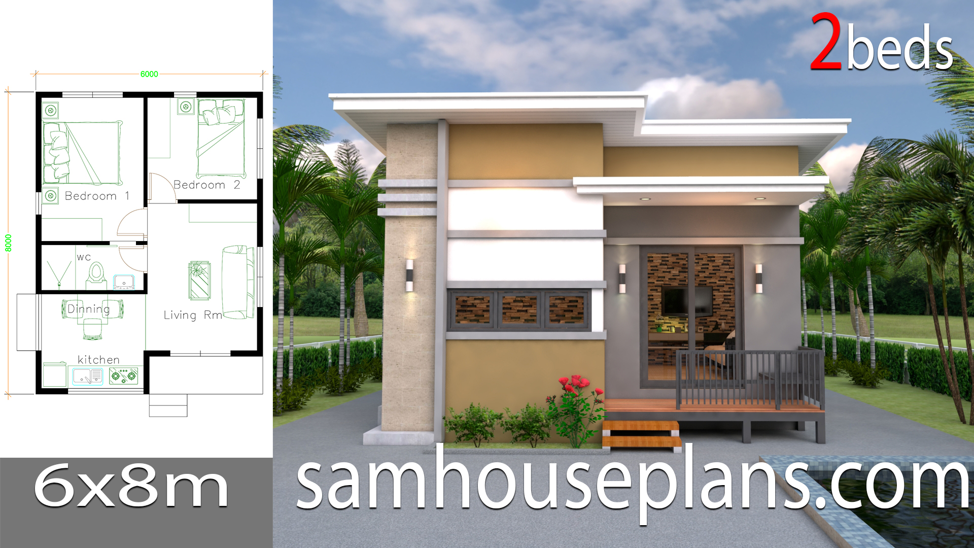 House Design Plans 6x8 with 2 Bedrooms - Sam House Plans