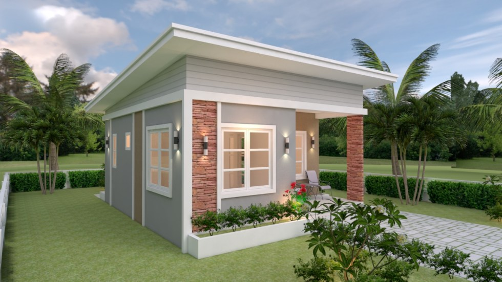 Small House Plans 6.5x8 with 2 Bedrooms Shed Roof 3d 1