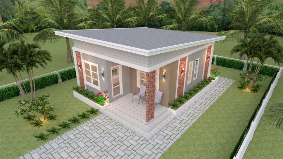 Small House Plans 6.5x8 with 2 Bedrooms Shed Roof 1
