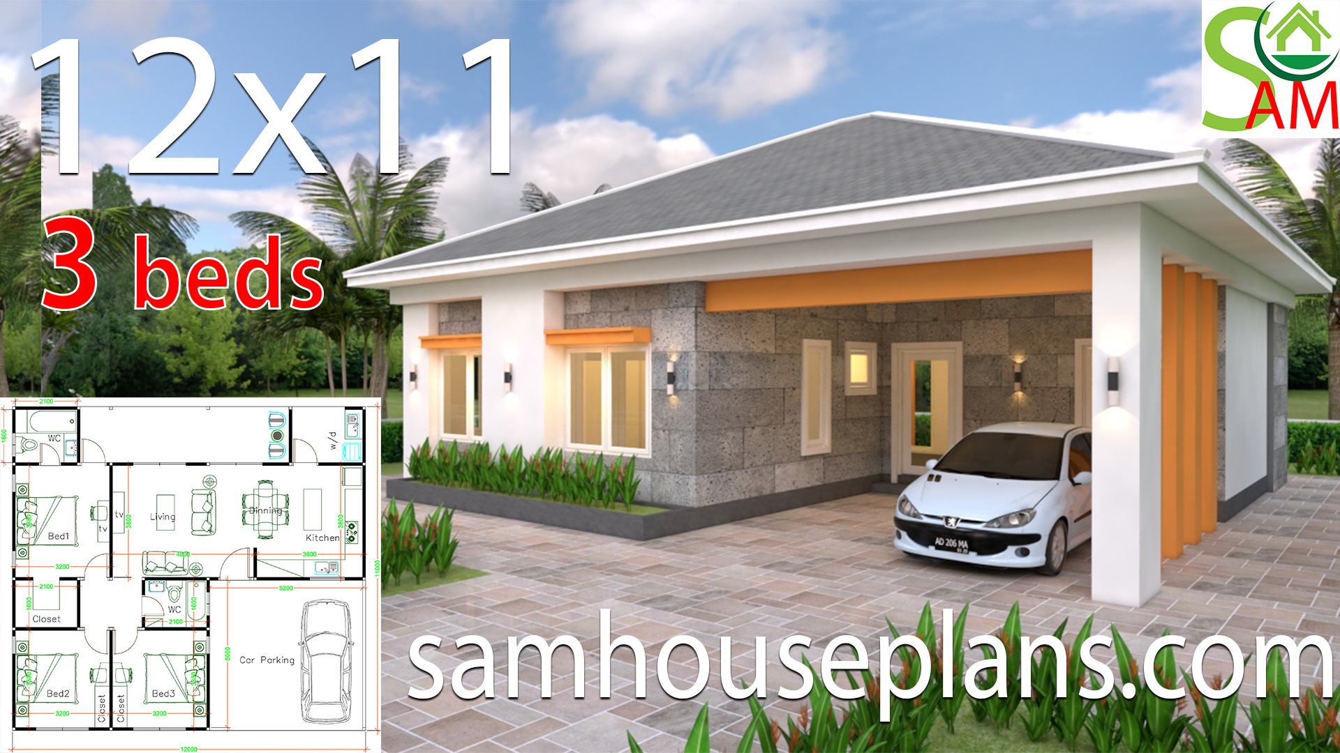 House Plans 12x11 with 3 Bedrooms Hip roof - Sam House Plans
