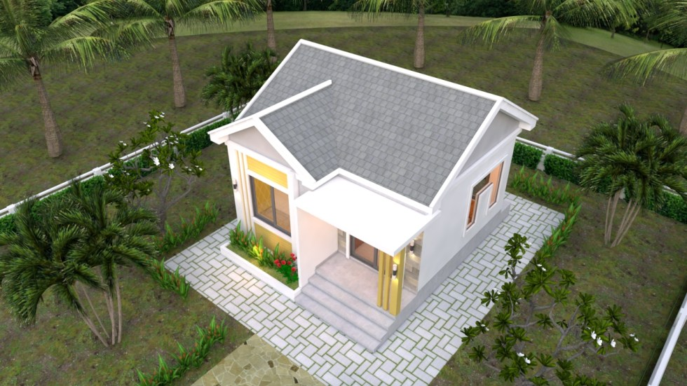 Small House Plans 6x6 with One Bedrooms Gable Roof