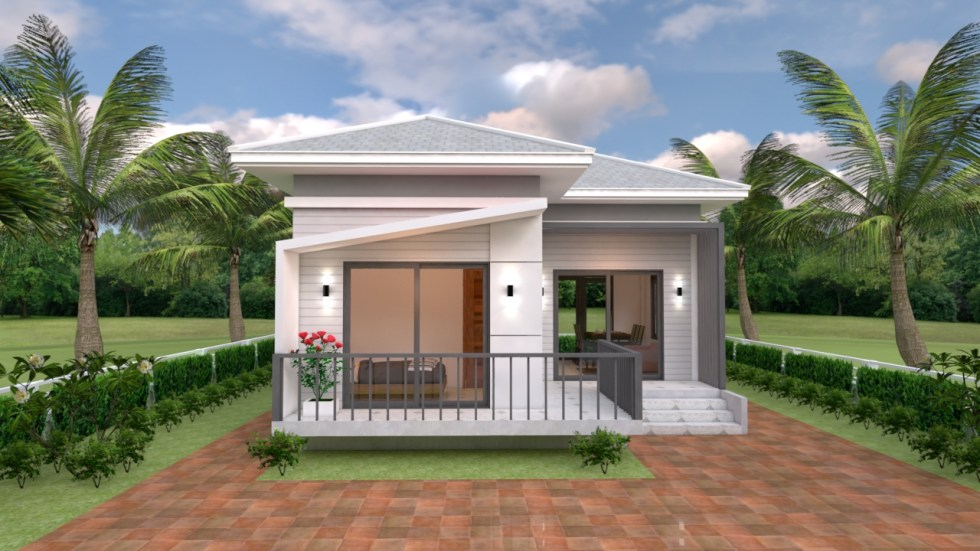 Small House Plans 7.5x11 with 2 Bedrooms Hip roof