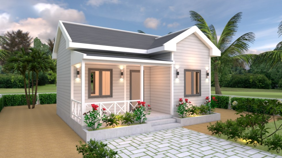House Plans 7x6 with One Bedroom Cross Gable Roof