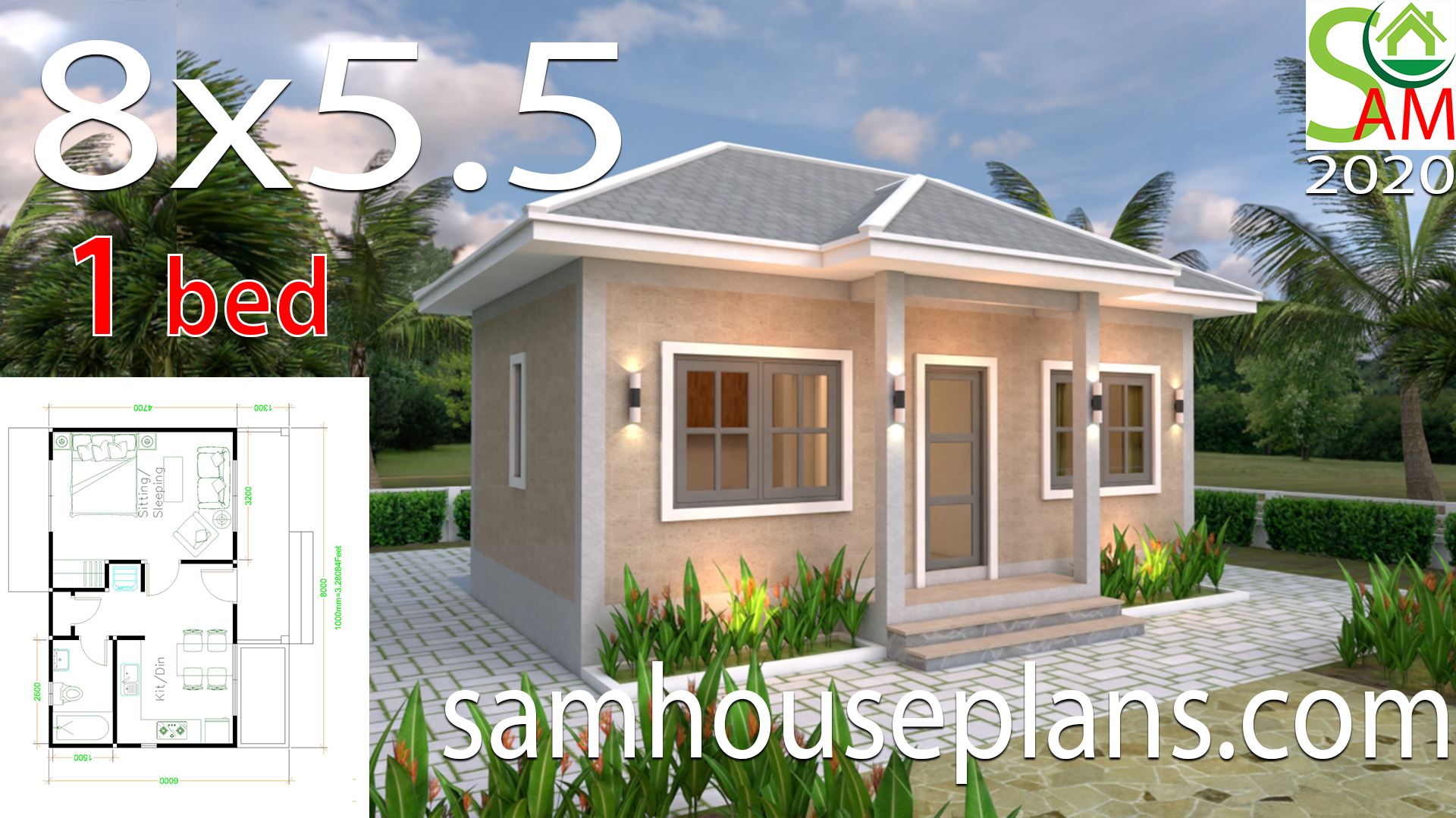 House Plans 8x5 5 With One Bedrooms Gross Hipped Roof Samhouseplans