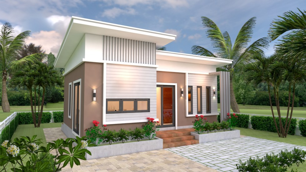 Small House Plans 8x6 with 2 Bedrooms Slope roof