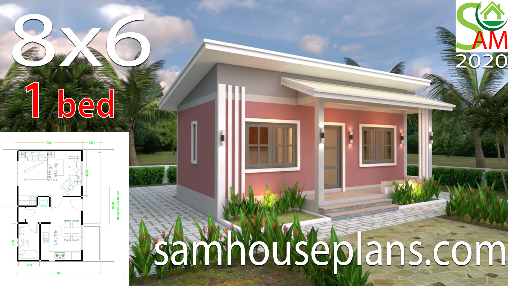House Plans 8x6 With One Bedrooms Shed Roof Samhouseplans