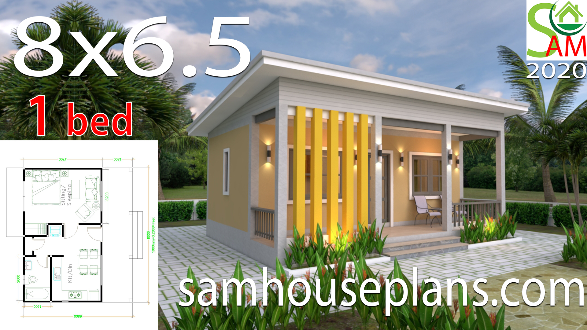House Plans 8x6 5 With One Bedrooms Shed Roof Samhouseplans