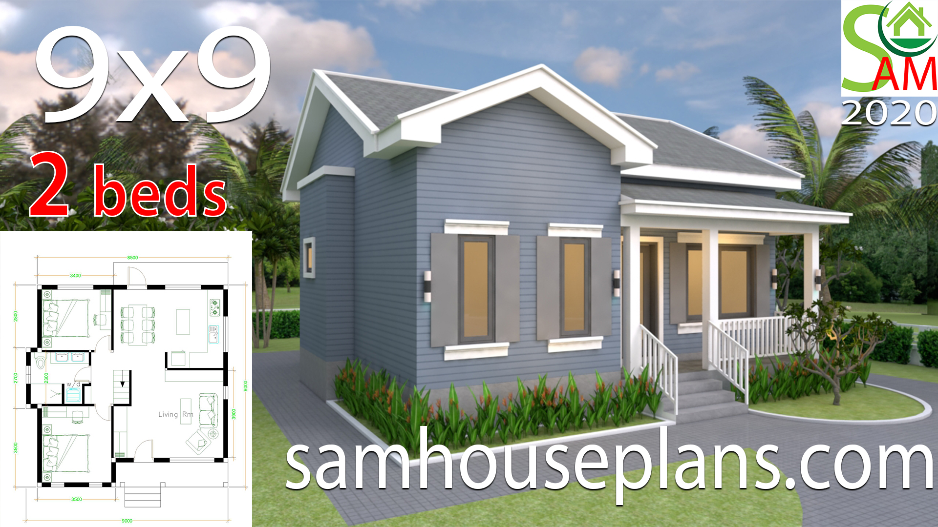 House Plans 9x9 with 2 Bedrooms Gable Roof - Sam House Plans