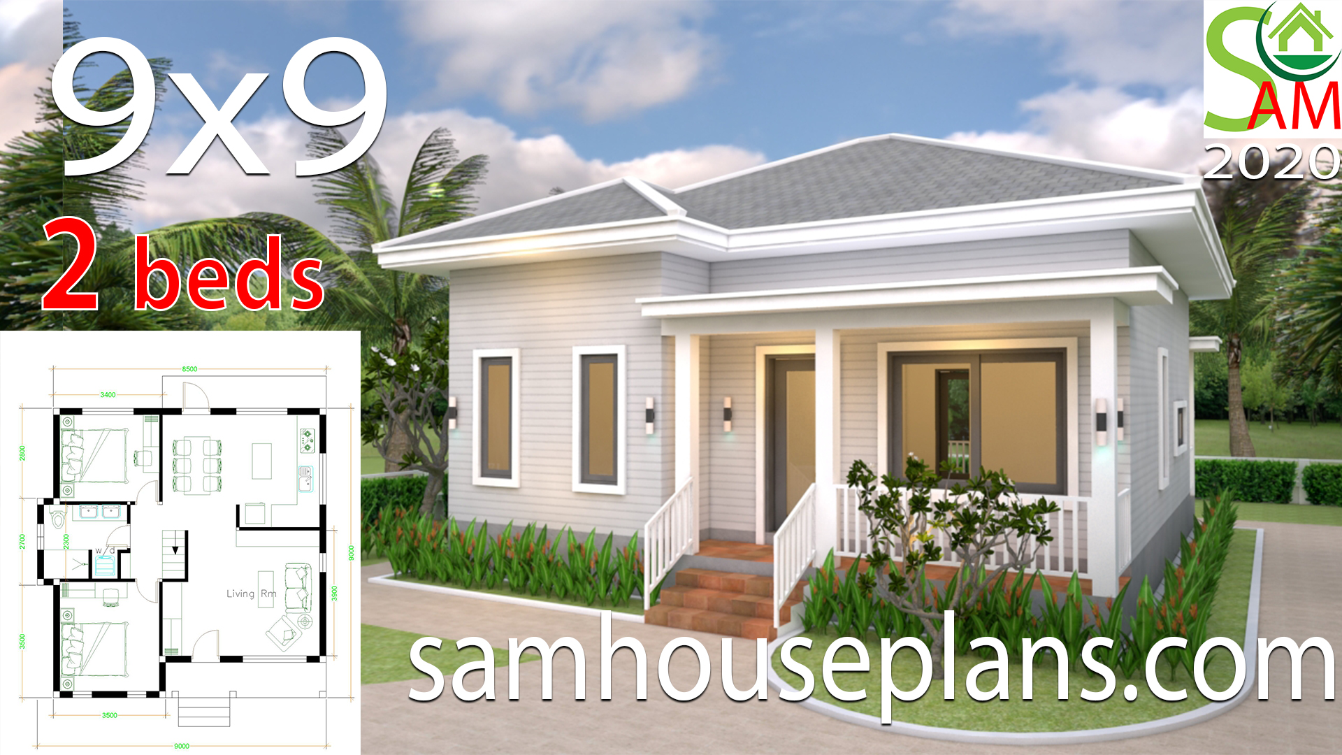 House Plans 9x9 with 2 Bedrooms Hip Roof - Sam House Plans