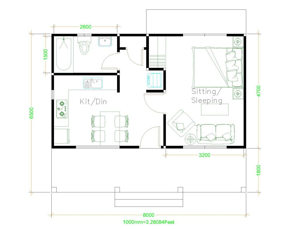 House Plans 8x6.5 with One Bedrooms Shed roof