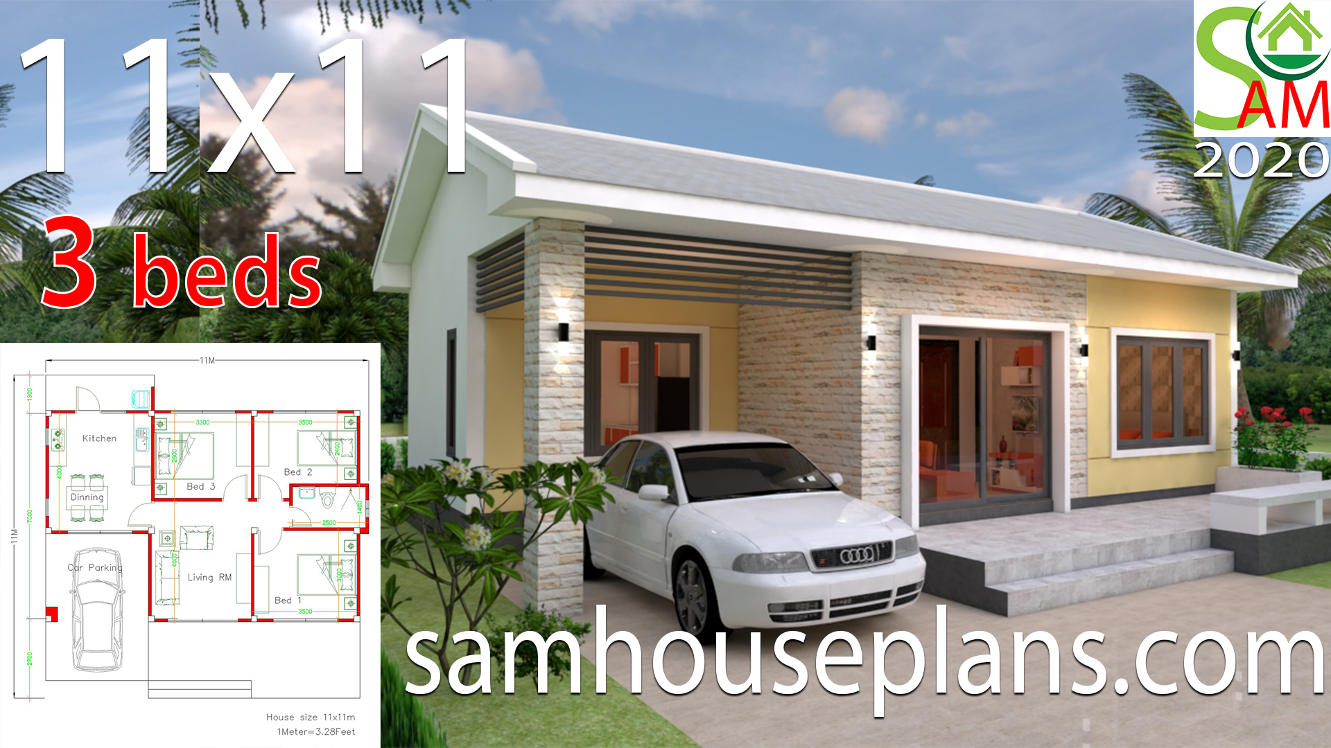 Simple House Plans 11x11 With 3 Bedrooms Sam House Plans
