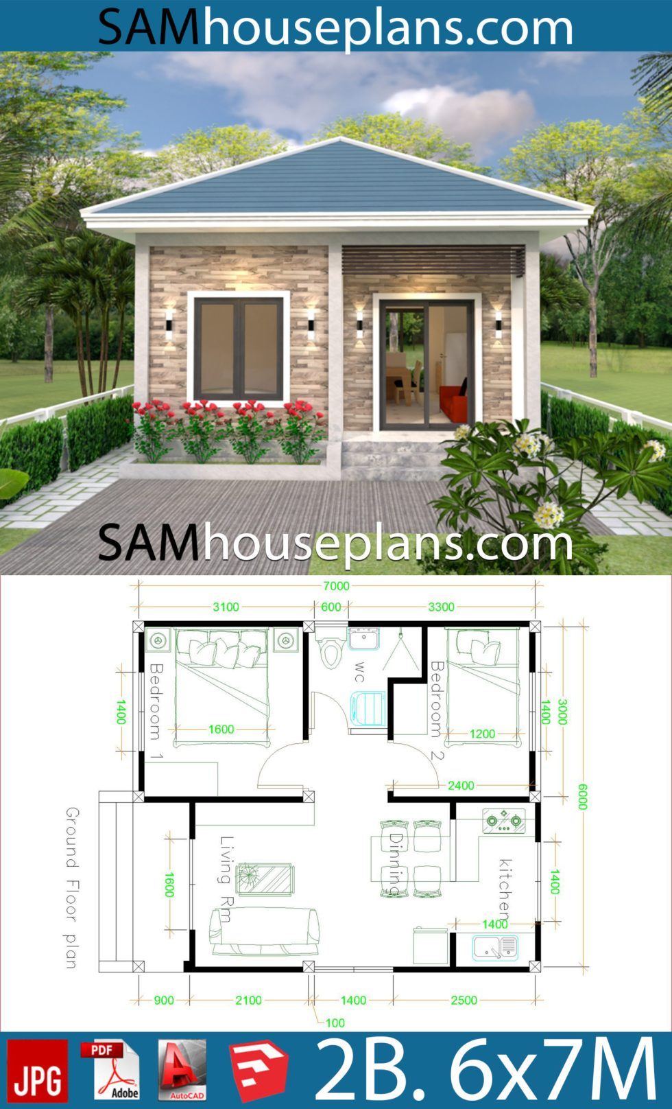 Simple House Design 6x7 With 2 Bedrooms Hip Roof Samhouseplans