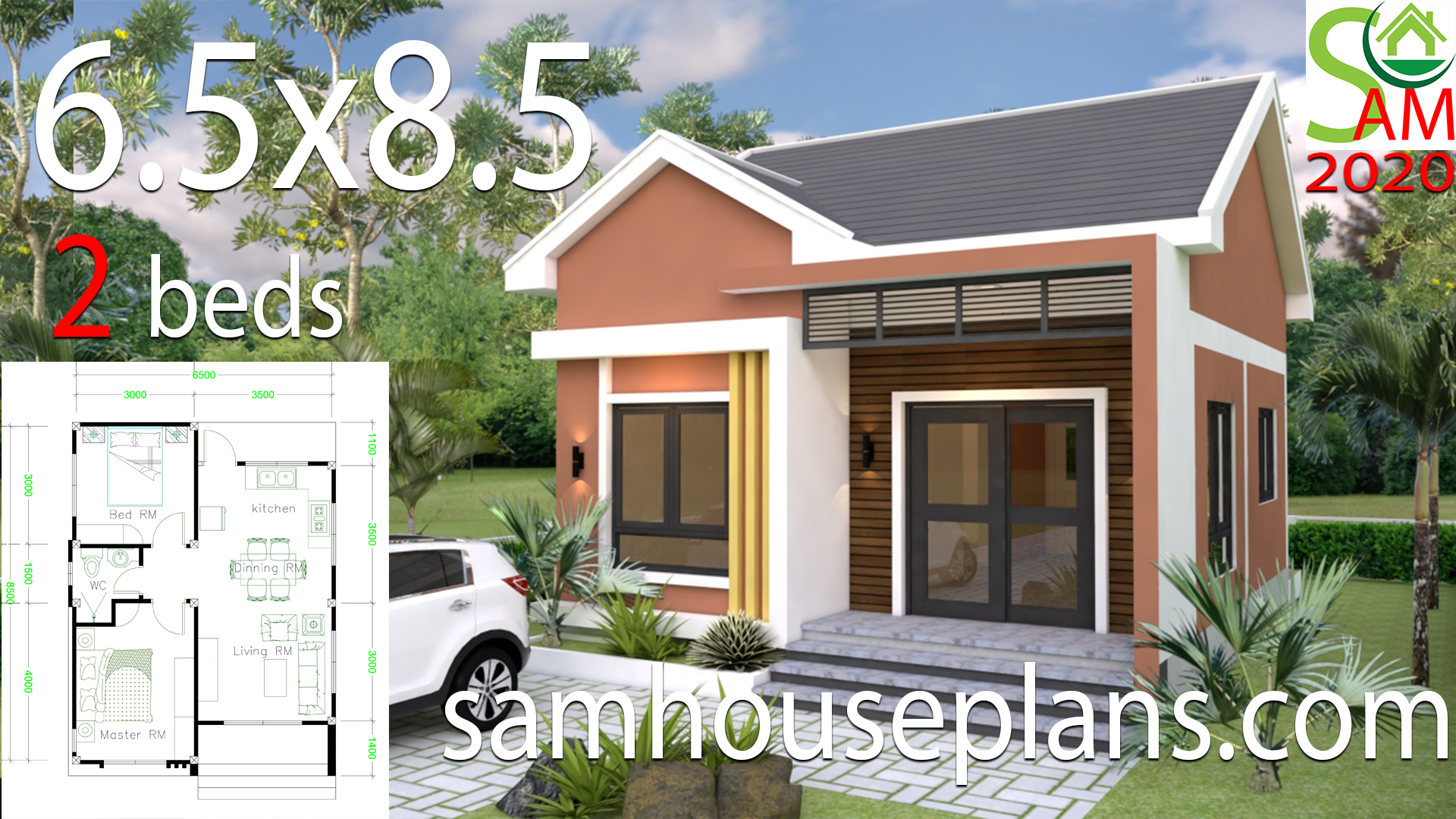 Small House Design Plans 6 5x8 5 With 2 Bedrooms Shed Roof
