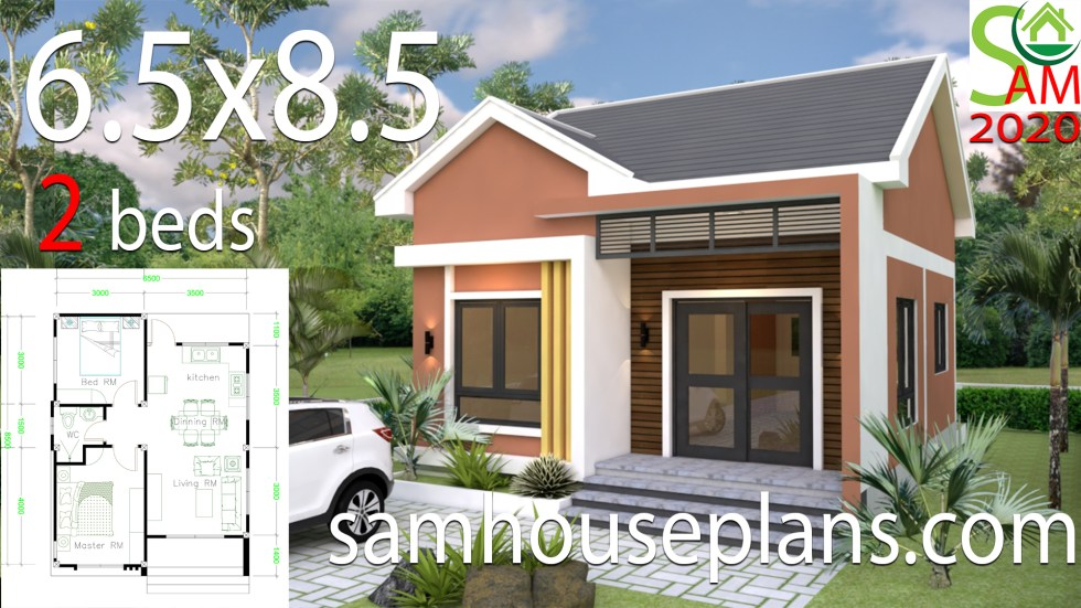 Small House Design Plans 6 5x8 5 With 2 Bedrooms Shed Roof Samhouseplans