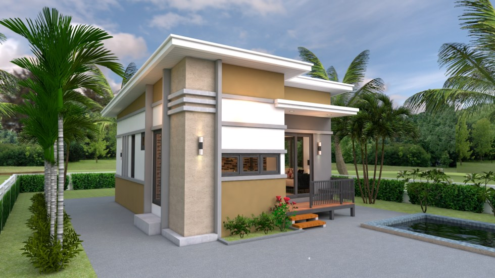 Small House Design 6x8 with 2 Bedrooms Shed roof