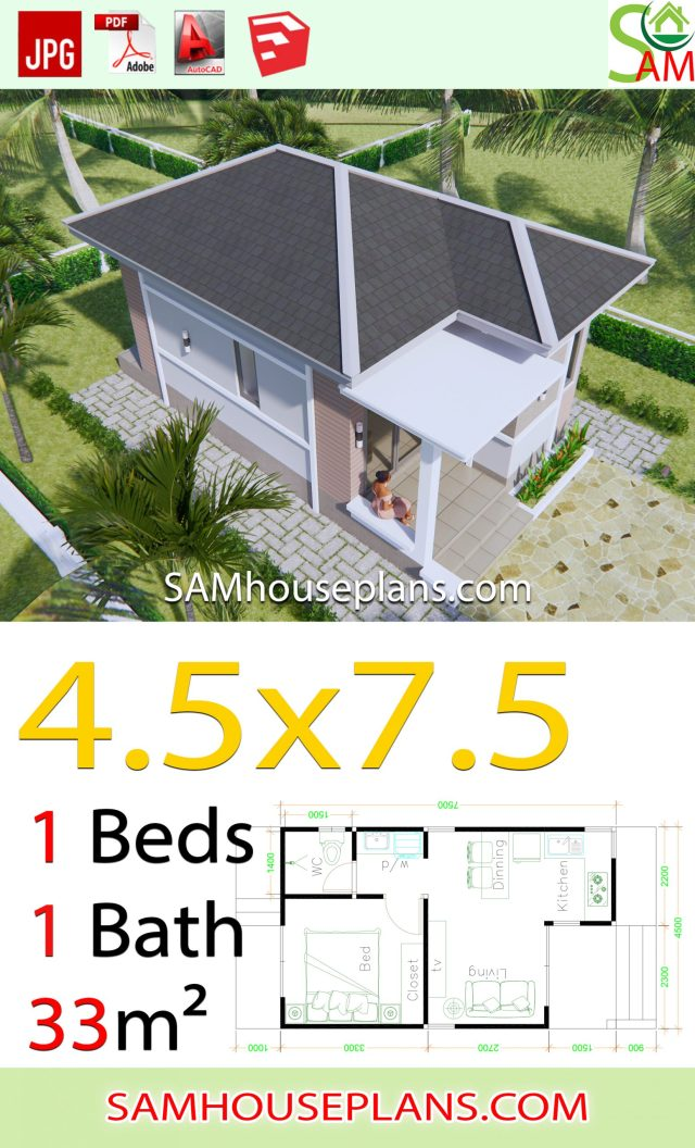 Small House Plans 4.5x7.5 with One Bedroom Hip roof on straw bale house plans, pueblo house plans, 4 bedroom house plans, low profile house plans, uncommon house plans, windows house plans, facebook house plans, sod house plans, nook house plans, 1 bedroom house plans, southwestern house plans, small house plans, sq ft. house plans, backwoods house plans, ranch house plans, structurally insulated panels house plans, jacal house plans, victorian house plans, spanish house plans, mediterranean house plans,