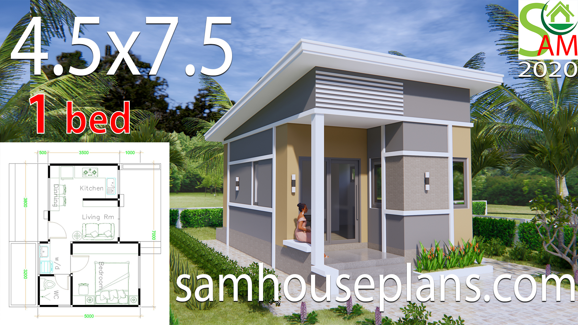 Small House Plans 4.5x7.5 with One Bedroom Shed roof - Sam House Plans
