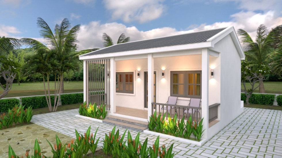 House Plans 6.5x8 with One Bedrooms gable roof