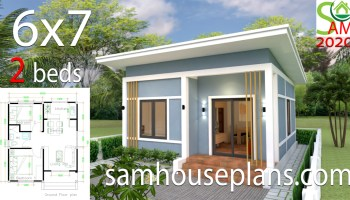 Simple House Design 6x7 With 2 Bedrooms Hip Roof Sam House Plans