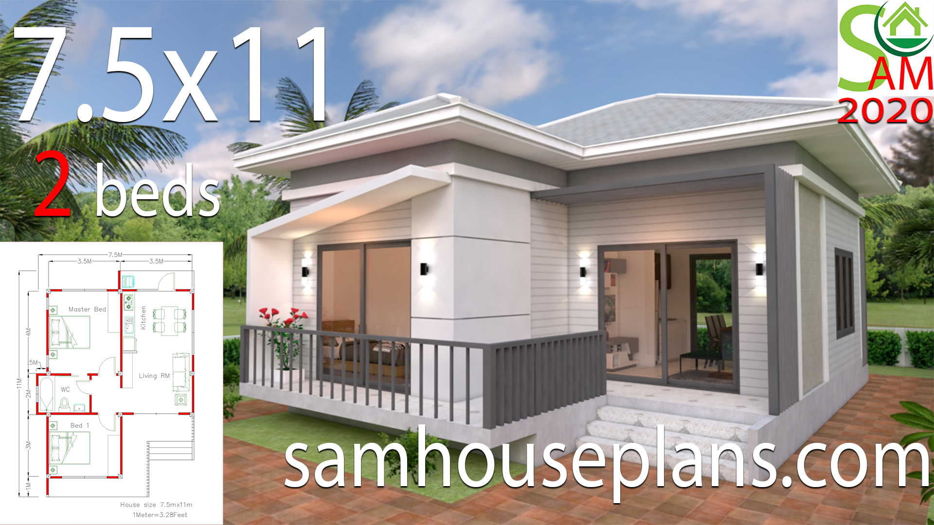 Small House Plans 7.5x11 with 2 Bedrooms Hip roof - Get Small Double Bedroom House Design Background