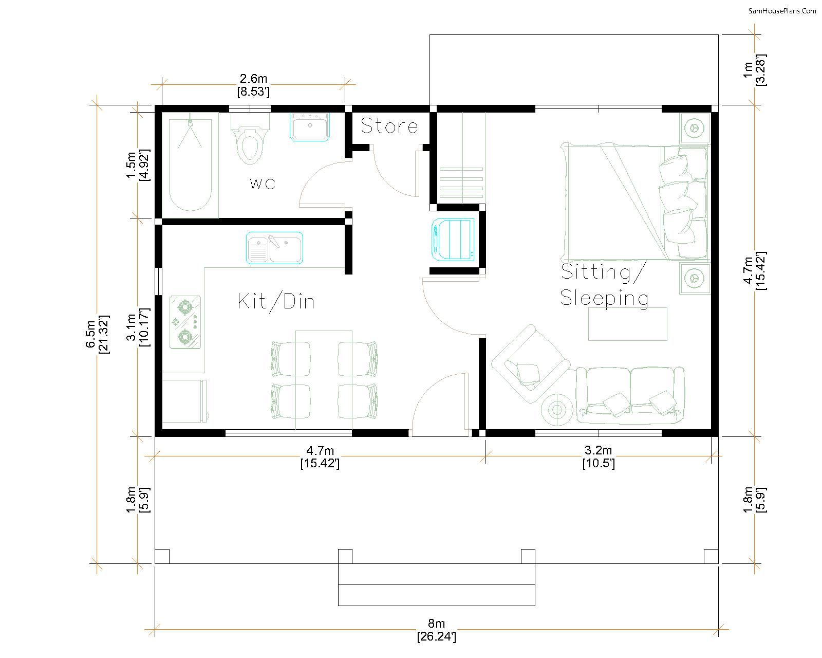 House Design Plans 5x7 with One Bedroom Shed Roof