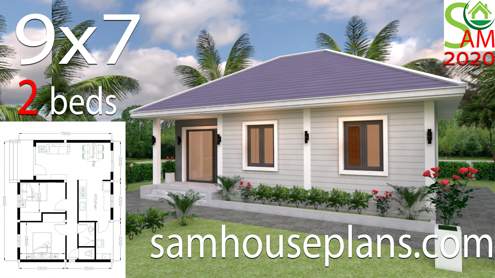 Small House Plans 9x7 With 2 Bedrooms Hip Roof Samhouseplans