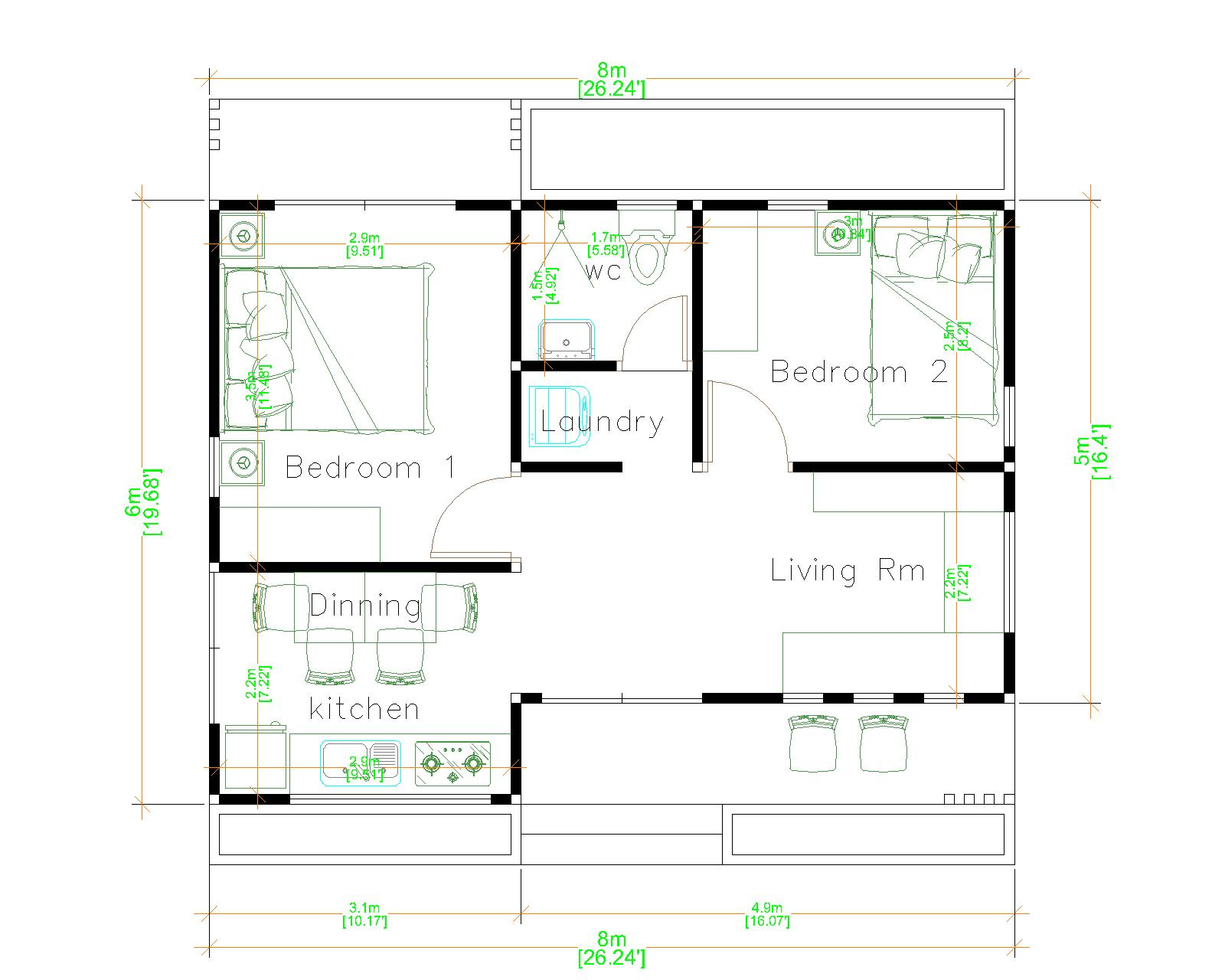 Small House Plans 8x6 with 2 Bedrooms Hip Roof