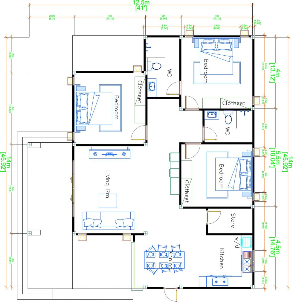 House Plans 14x12.5 with 3 Bedrooms Hip roof