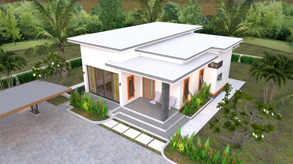 House Plans 10.7x10.5m with 2 Bedrooms Flat roof