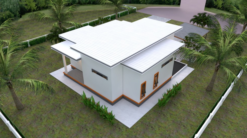 Back roof House Plans 10.7x10.5m with 2 Bedrooms Flat roof