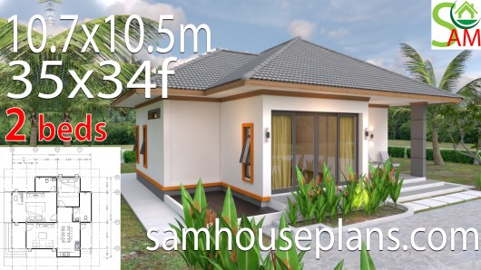 House Plans 10.7x10.5 with 2 Bedrooms Hip roof 35x34 feet
