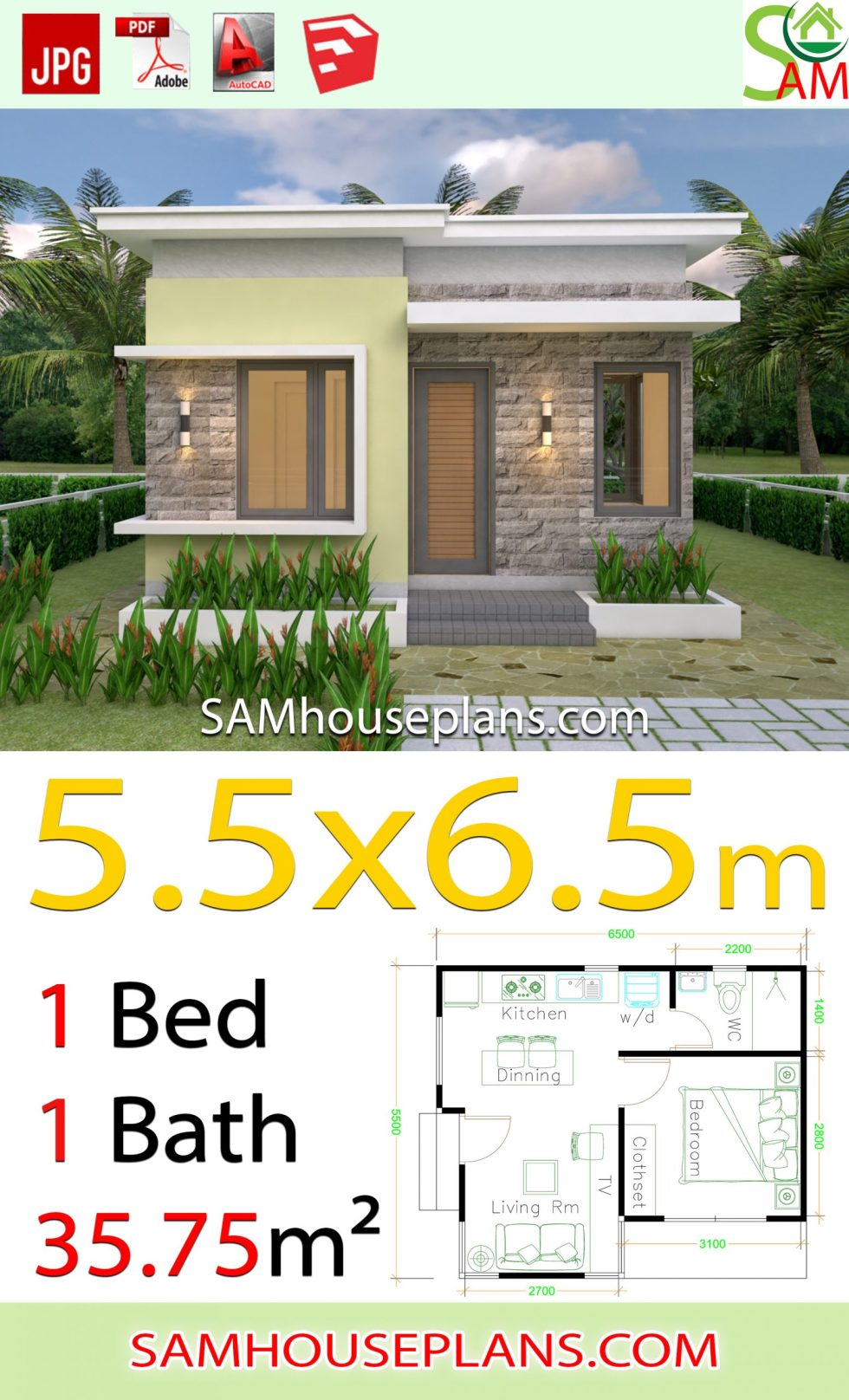 House design Plans 5.5x6.5 with One Bedroom flat roof