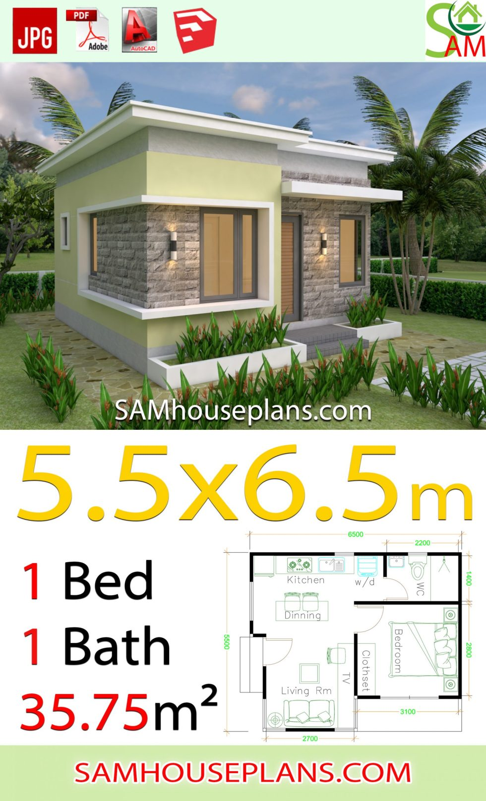 House Design Plans 5 5x6 5 With One Bedroom Flat Roof Samhouseplans