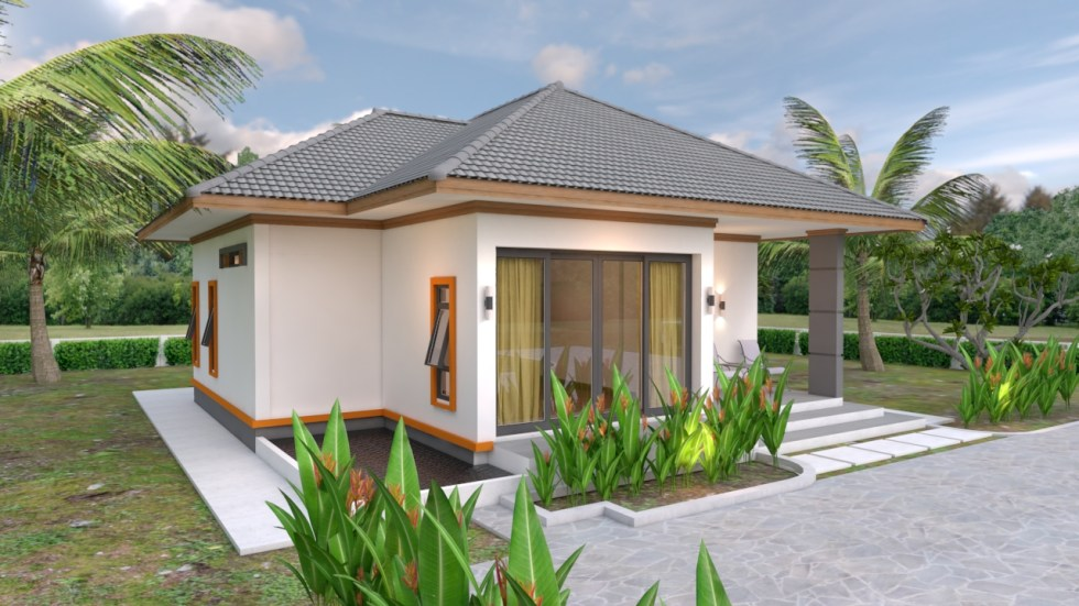 House Plans 10.7x10.5 with 2 Bedrooms Hip roof 35x34 feet 3d view