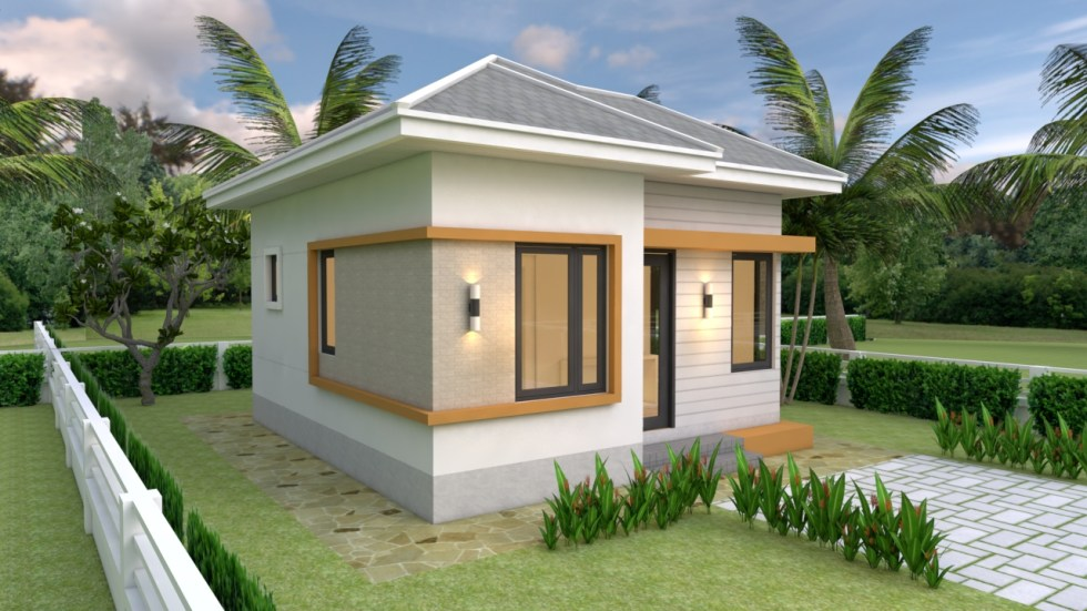 Small House design Plans 5.5x6.5 with One Bedroom Hip roof