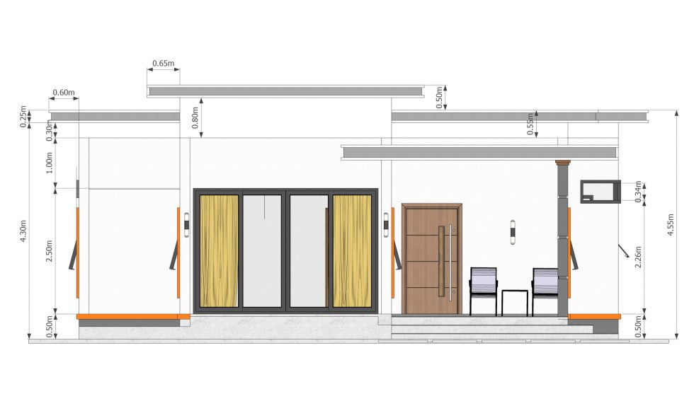 Elevation House Plans 10.7x10.5m with 2 Bedrooms Flat roof