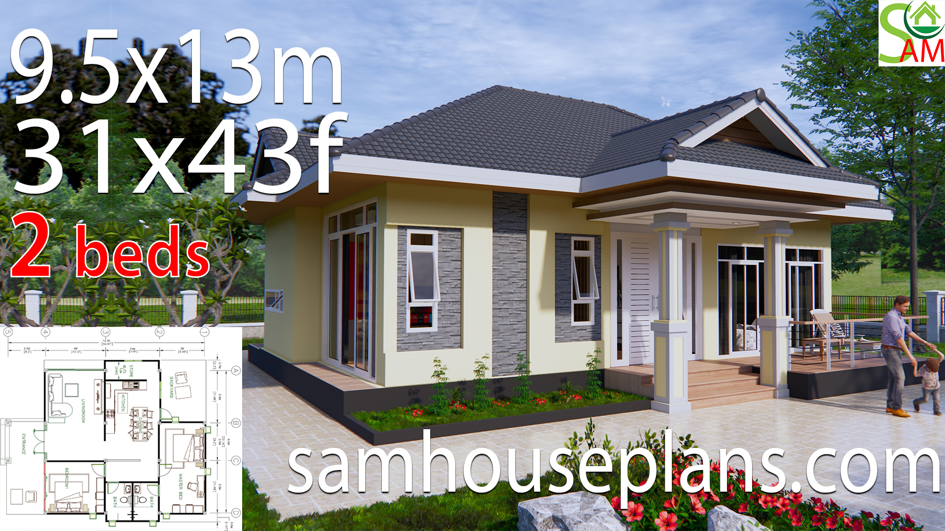 House Plans 31x43 Feet 9.5x13 Meters 2 Bedrooms Hip roof - SamHousePlans