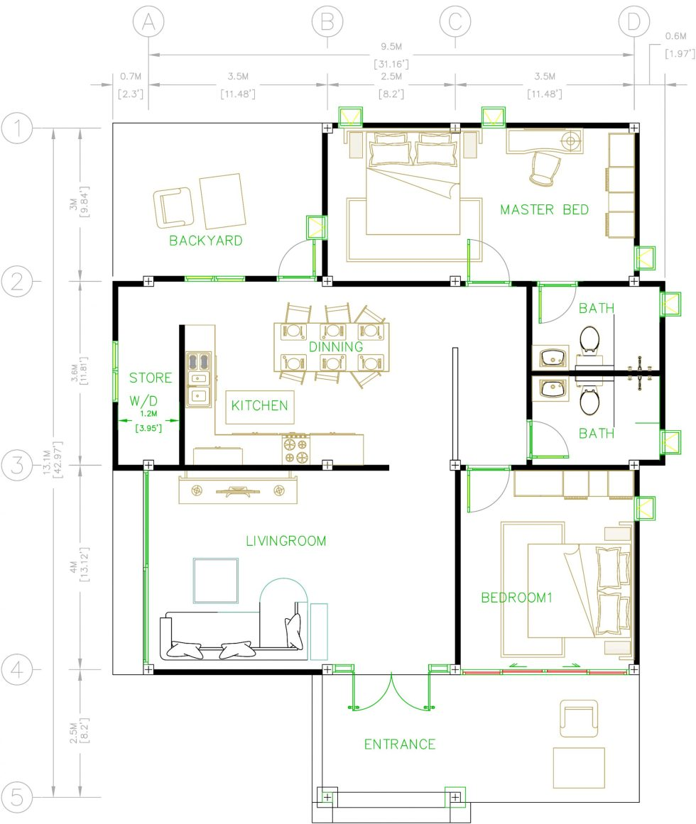 House Plans 31x43 Feet 9.5x13 Meters 2 Bedrooms Hip roof