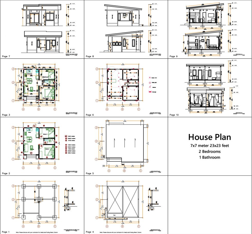 Small house design 7x7 Meters 24x24 Feet 2 Bedrooms all layout