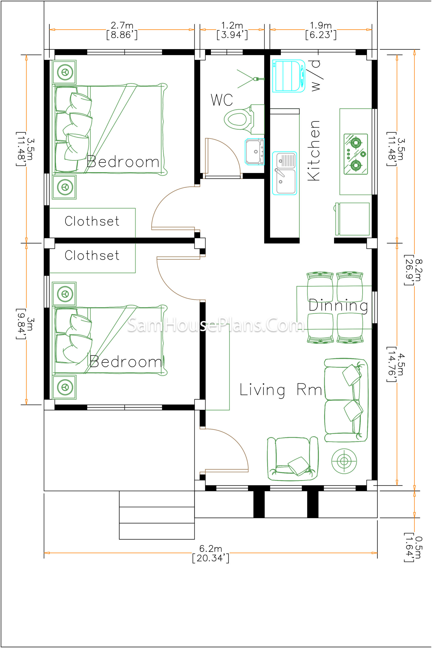 House Design 6x8Meter 20x27Feet Hip Roof