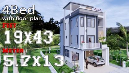 Interior House Design 5.7x13 Meter 19x43 Feet Full Plans