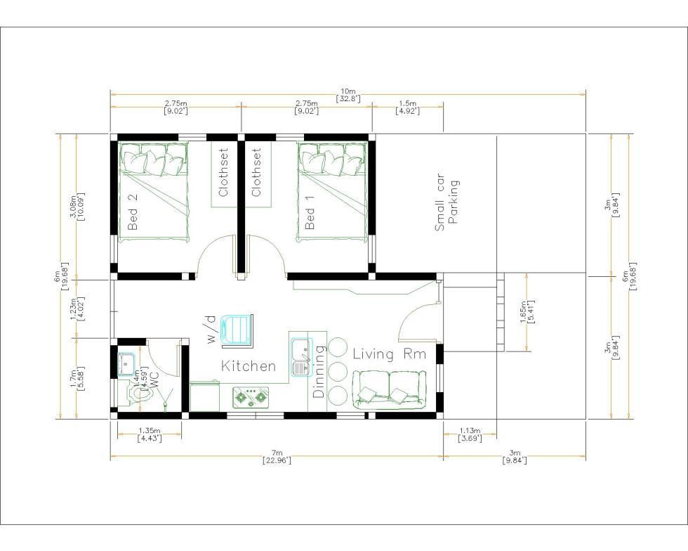 Small House Design 6x7M floor plan