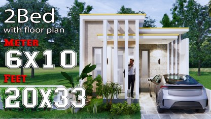 Small House Design Plans 6x10M 20x33F Terrace Roof Full Plans
