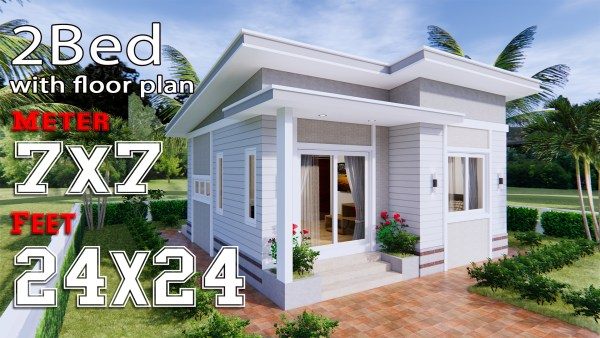 Small house design 7x7 Meters 24x24 Feet 2 Bedrooms