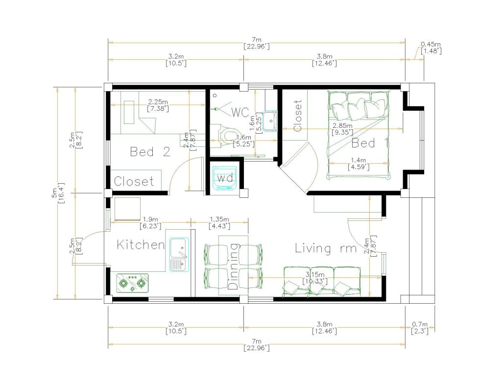 Small House Plans 5x7 Meters 2 Bedrooms